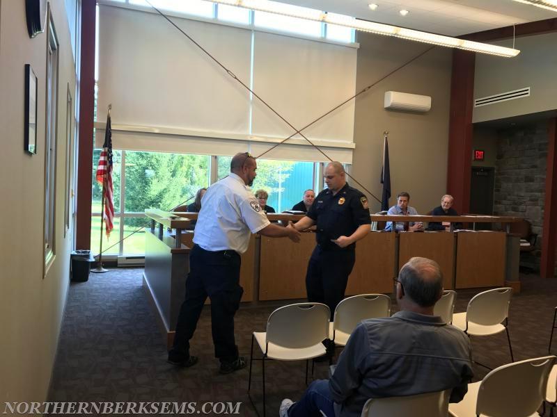Blandon Fire Company Captain Casey Tiderman receiving his Heart Saver Hero award.