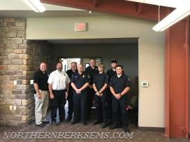 Left to right (Front): Northern Berks Regional Police Department Chief Brian Horner, Northern Berks EMS Executive Director Stephen Bobella Jr., Blandon Fire Department Captain Casey Tiderman, Northern Berks EMS Paramedic Jake Motacki, and Northern Berks EMS EMT Jesiah Newsome. Left to right (Back): Northern Berks EMS EMT Fred Massa, Northern Berks Regional Police Department Sergeant Robert Wood, and Northern Berks EMS Paramedic Sam Henne.