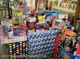 Photos of donations from toy drive of 2017